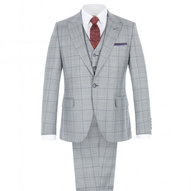 Gibson London Grey Tailored Three Piece Suit With Bold Purple Check