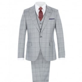Grey Tailored Three Piece Suit With Bold Purple Check