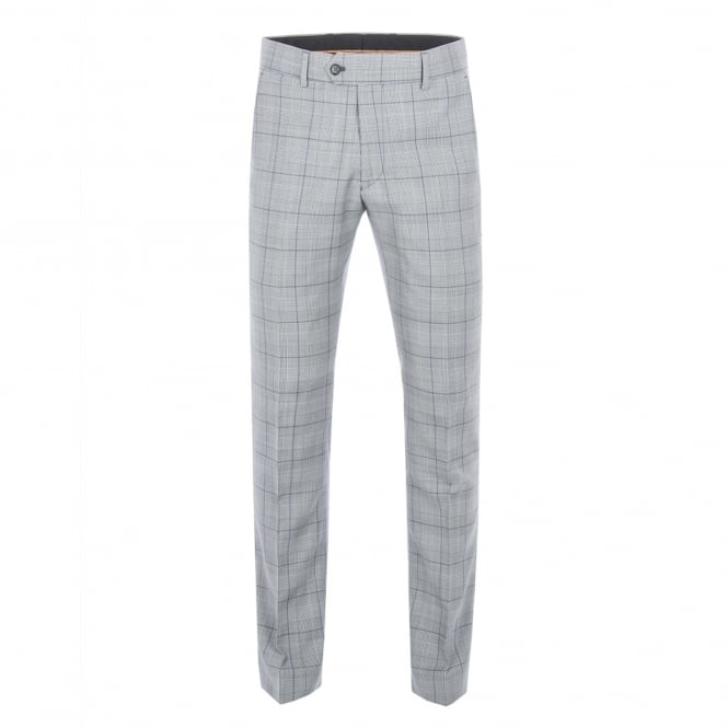 Gibson London Grey Tailored Trousers With Bold Purple Check