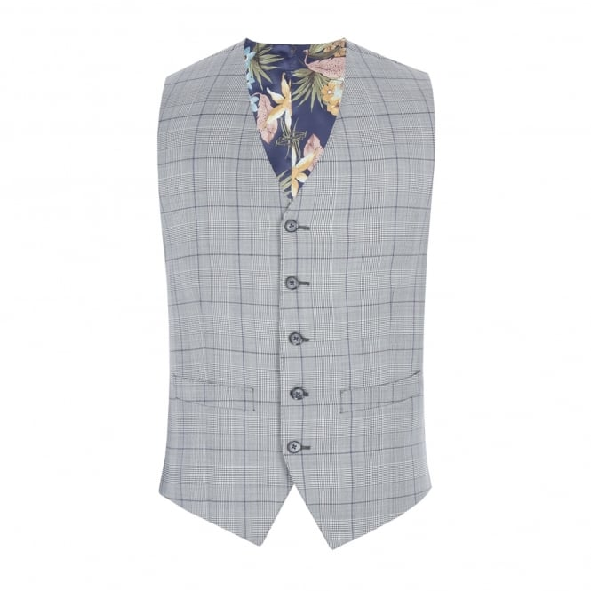 Gibson London Grey Tailored Waistcoat With Bold Purple Check