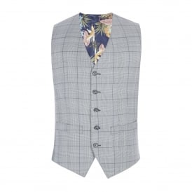 Grey Tailored Waistcoat With Bold Purple Check