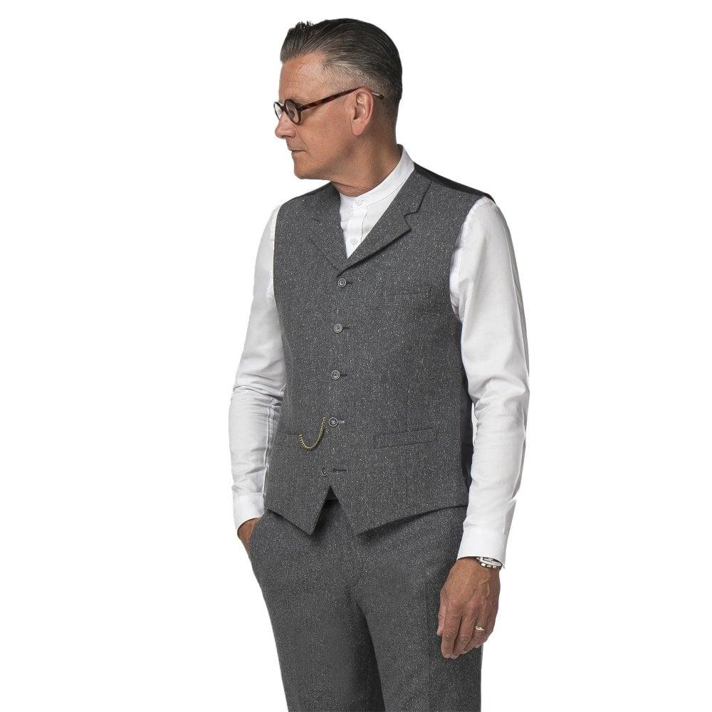 d0a8ac5d3d4e Gibson London Gunmetal Grey Tweed Waistcoat GSS16TB | The Shirt Store