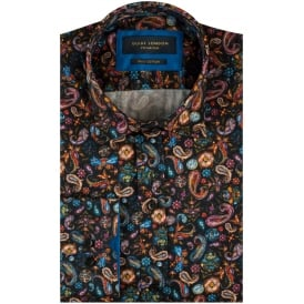 Black Paisley Mens Shirt