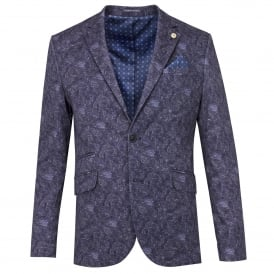 Blue Cotton Stretch Bold Interlock Print Mens Jacket