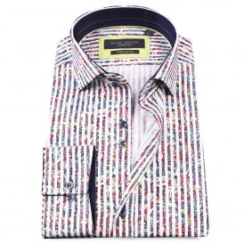 Bold Stripe Cotton Sateen Paisley Mens Shirt
