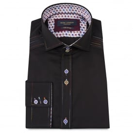 Contrast Stitch Black Mens Shirt