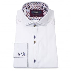 Contrast Stitch White Mens Shirt