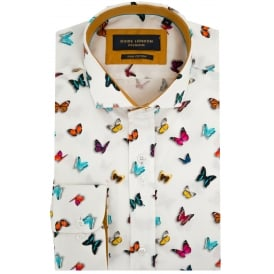 Cotton Sateen Butterfly Print Mens Shirt