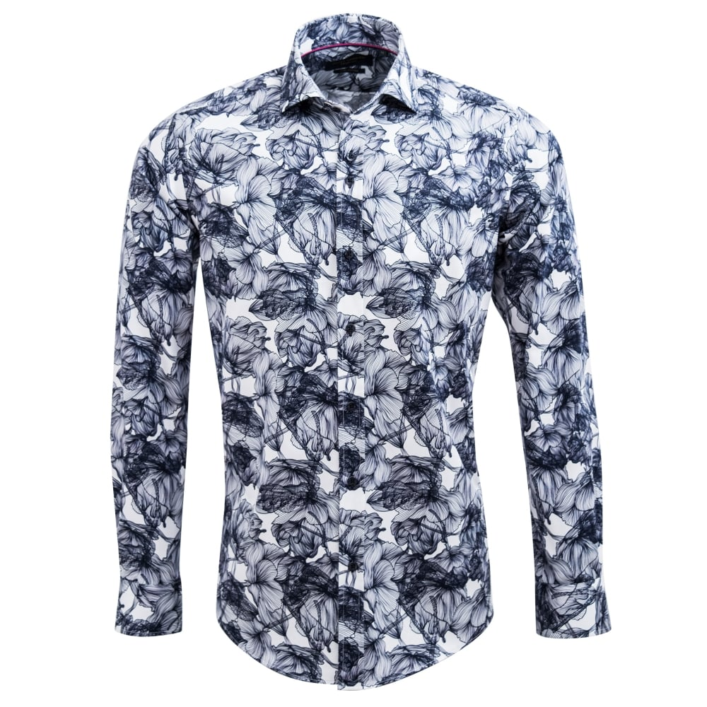 cbad0ff60b4 Guide London Stenciled Flower Print Mens Shirt LS74594