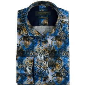 Cotton Sateen Mens Shirt With Vibrant Colourful Paisley Design