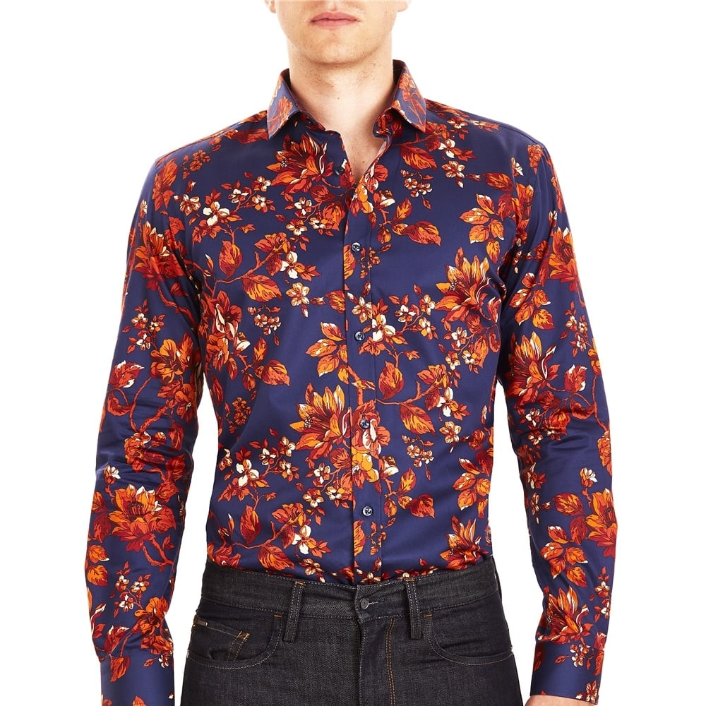 Buy Guide London LS73844 Mens Floral Print shirt | The Shirt Store