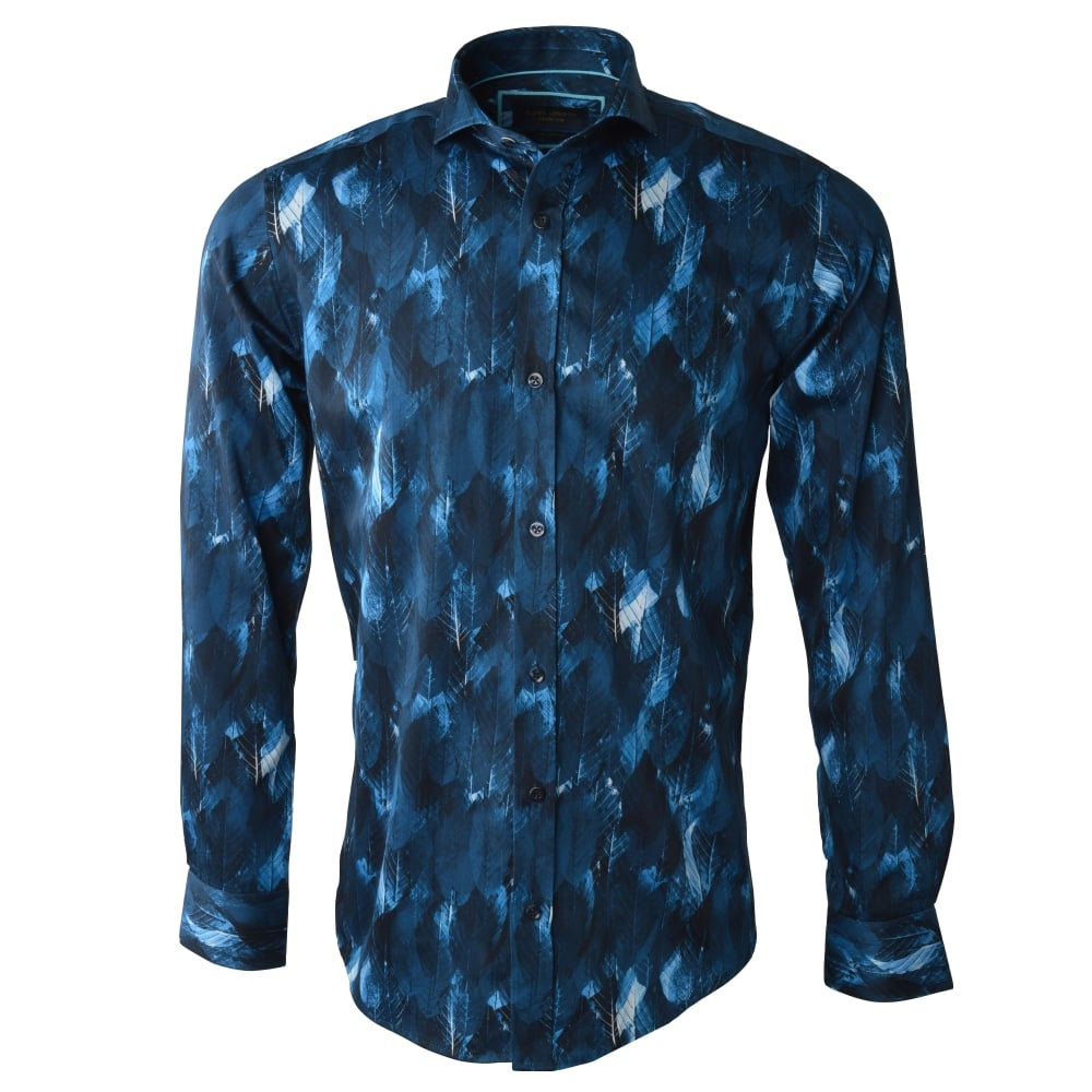 Shirt design london - Cotton Sateen Rich Leaf Design Mens Shirt