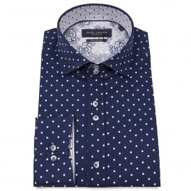 Cotton Sateen Spaced Polka and Striped Print Mens Shirt