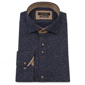 Ditsy Print Navy Mens Shirt