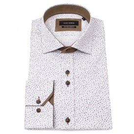 Ditsy Print White Mens Shirt