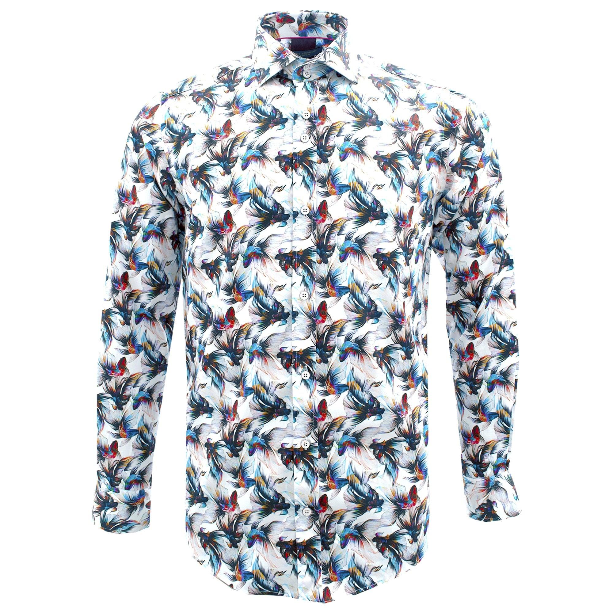 Guide London Detailed Plain Pure Cotton Long Sleeve Mens Shirt Medium White