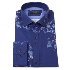 Floating Floral Print Navy Mens Shirt