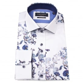 Floating Floral Print White Mens Shirt