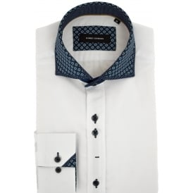 Layered Print Collar Mens Shirt