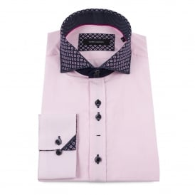 Layered Print Collar Pink Mens Shirt