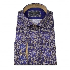 Layered Rope Print Purple Mens Shirt