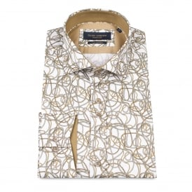 Layered Rope Print White Mens Shirt