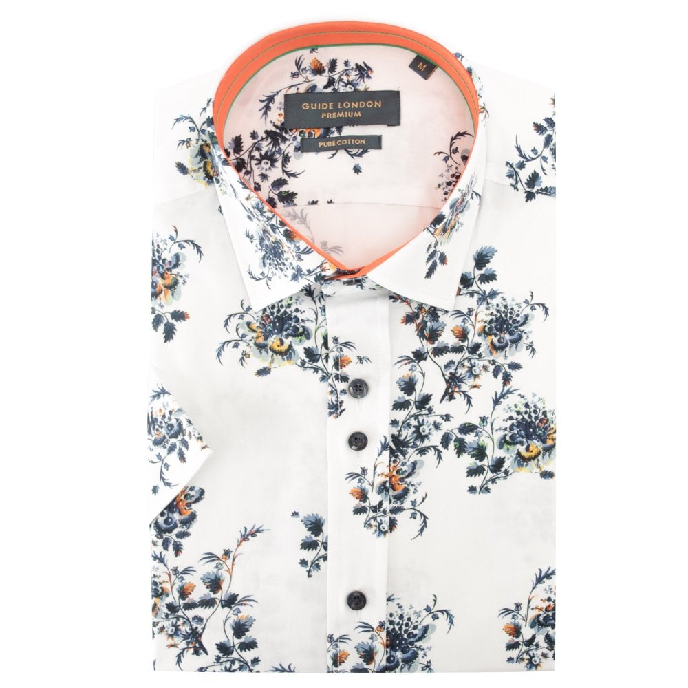 Guide London White Floral Print Mens Short Sleeve Shirt 2XLarge White