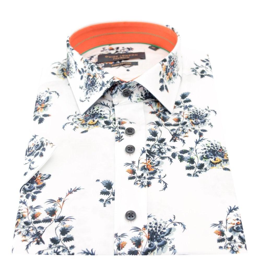 Guide London White Floral Print Mens Short Sleeve Shirt 2XLarge White