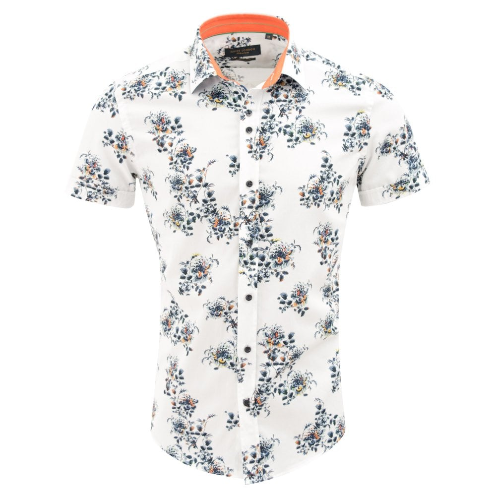 abeecf59f Luxurious White Cotton Floral Print Mens Short Sleeve Shirt