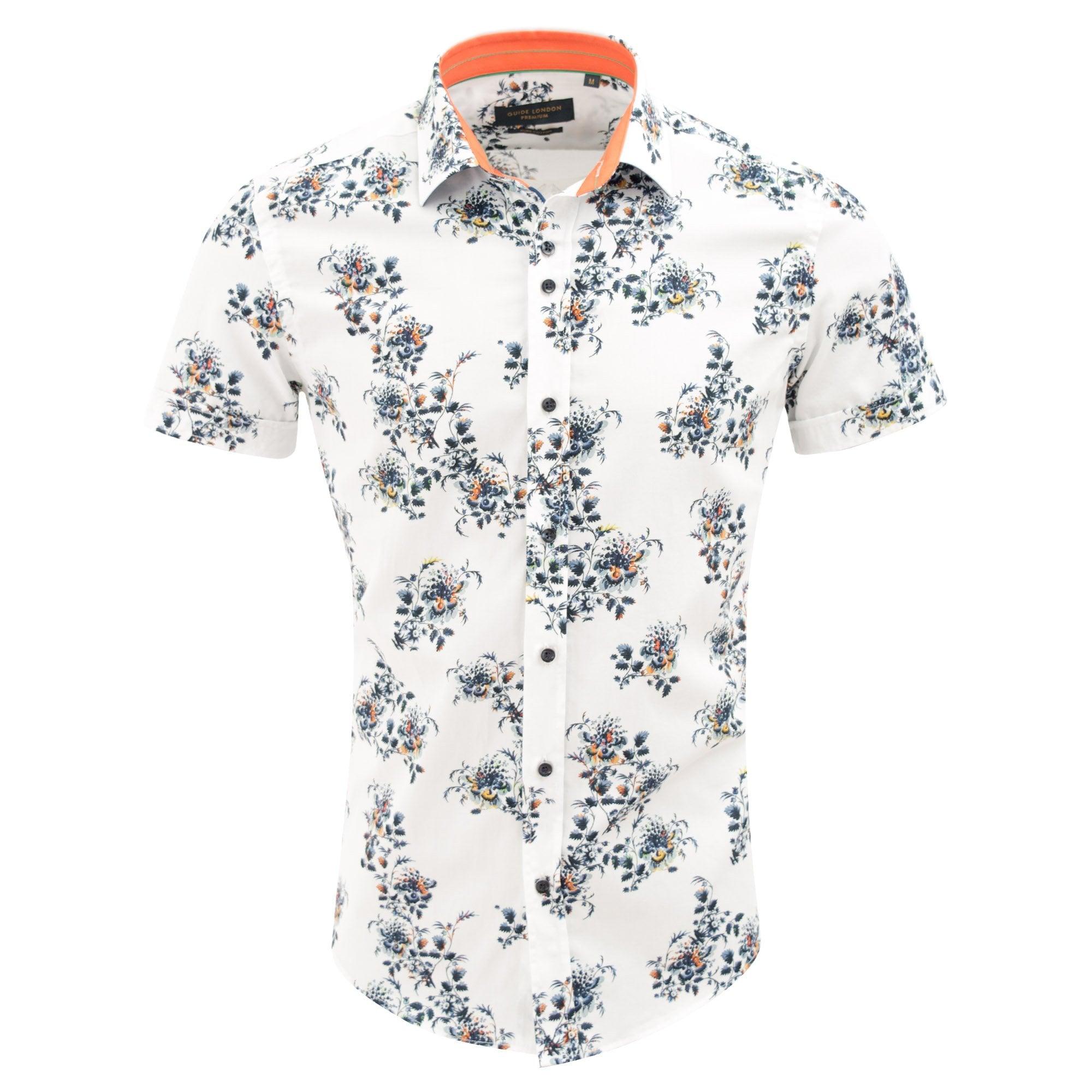 Mens 100/% Cotton Casual Short Sleeve Flower Button Down Shirt