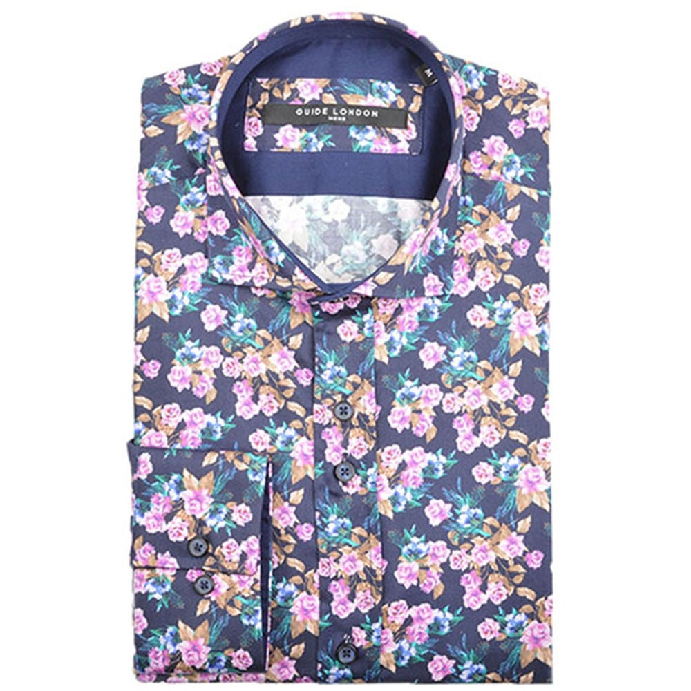 Guide London LS73940 Bright Cotton Sateen Floral Shirt|The Shirt Store