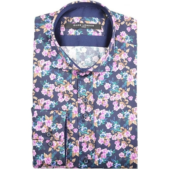 Guide London Mens Cotton Sateen Bright Floral Shirt