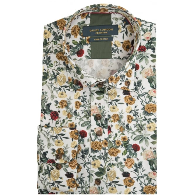 Guide London Mulberry Mens Shirt With Vibrant Flower and Rose Highlight Print