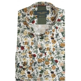 Mulberry Mens Shirt With Vibrant Flower and Rose Highlight Print