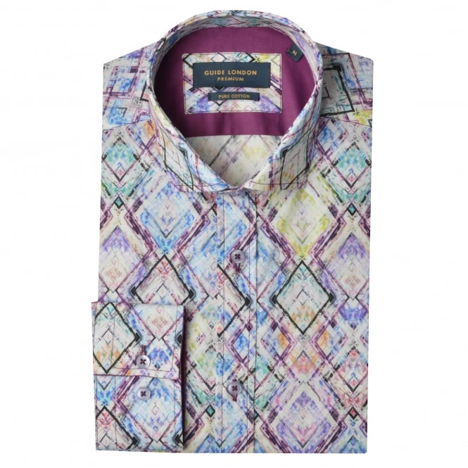 Guide London Multi Cotton Abstract Print Mens Shirt