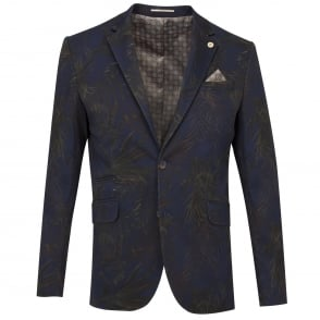Guide London Navy Cotton Stretch Contrasting Floral Tones Mens Jacket
