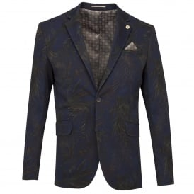 Navy Cotton Stretch Contrasting Floral Tones Mens Jacket