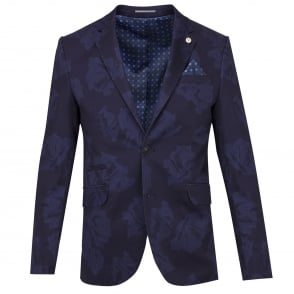 Guide London Navy Cotton Stretch Vivid Floral Print Mens Jacket