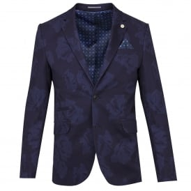 Navy Cotton Stretch Vivid Floral Print Mens Jacket
