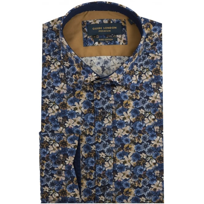 Guide London Navy Floral Cotton Soft Touch Fabric Mens Shirt
