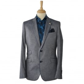 Navy Linen Blend Mens Blazer with Trim Detail