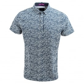 Navy Smart small flower print cotton polo