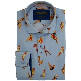 Pin-Up At The Beach Print Mens Shirt