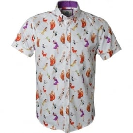 Pin Up Print Half Sleeve Mens Shirt