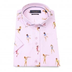 8e2623a129e Pin-up Tennis Cotton Sateen Short Sleeve Men s Shirt