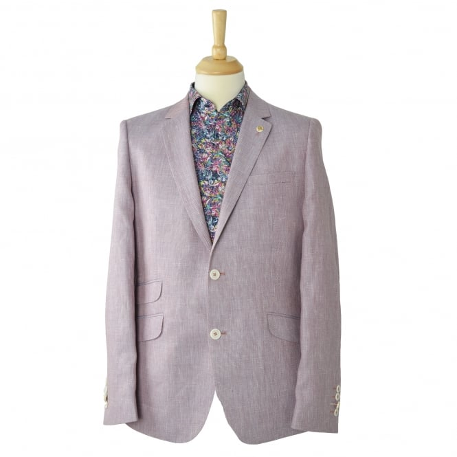 Guide London Pink Soft Pastel Linen Blend Mens Blazer