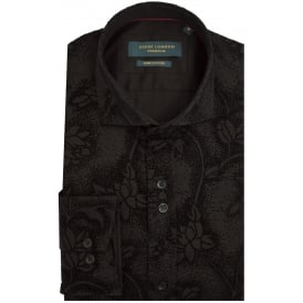 Sateen Mens Shirt With Floral Velvet Touch Flock Print
