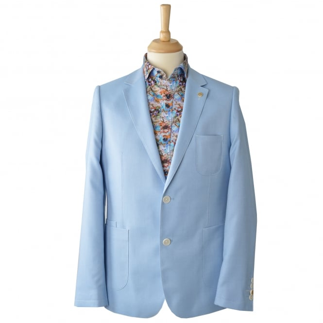 Guide London Sky/Blue Oxford Mens Blazer With Patch Pockets