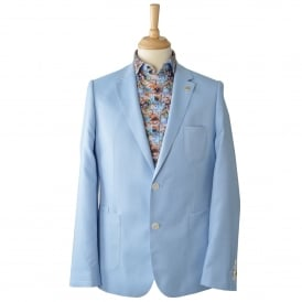 Sky/Blue Oxford Mens Blazer With Patch Pockets