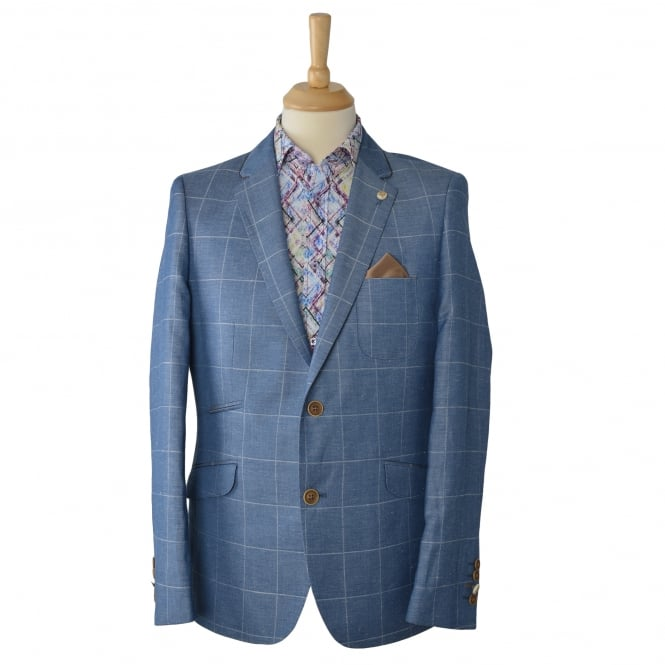 Guide London Sky Linen Blend Overcheck Mens Blazer